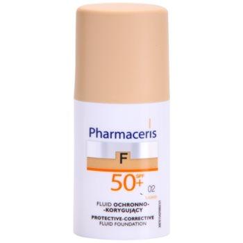 Pharmaceris F-Fluid Foundation capac de protectie pentru machiaj SPF 50+ culoare 02 Sand  30 ml