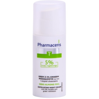 Fotografie Pharmaceris T-Zone Oily Skin Sebo-Almond Peel noční regulační a čisticí pleťový krém pro jednotný tón pleti 50 ml