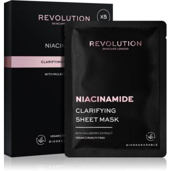 Revolution Skincare Niacinamide Clarifying set de măști textile pentru ten acneic poza noua