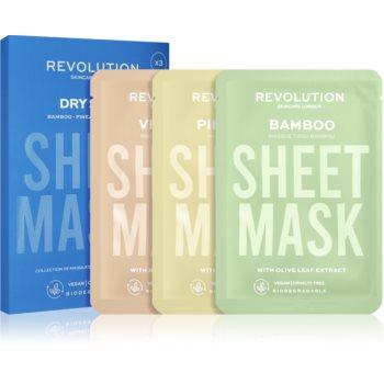 Revolution Skincare Biodegradable Dry Skin set de măști textile pentru pielea uscata si deshidratata poza noua