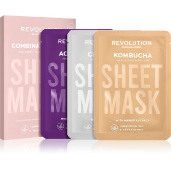 Revolution Skincare Biodegradable Combination Skin set de măști textile (pentru piele iritata si grasa cu pilozitate ridicata) poza noua