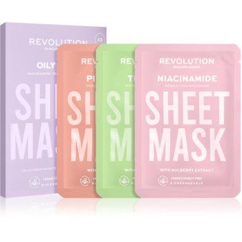 Revolution Skincare Biodegradable Oily Skin set de măști textile pentru ten gras poza noua