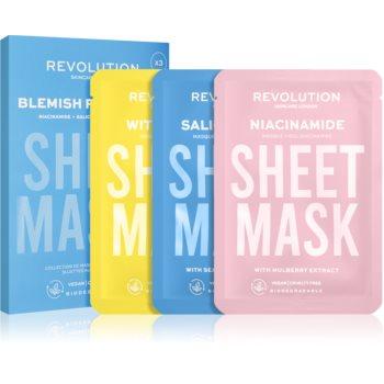 Revolution Skincare Biodegradable Blemish Prone Skin set de măști textile (pentru ten gras si problematic) poza noua