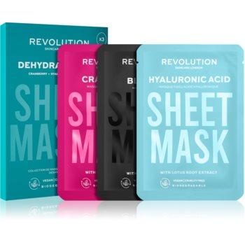 Revolution Skincare Biodegradable Dehydrated Skin set de măști textile pentru pielea uscata si deshidratata