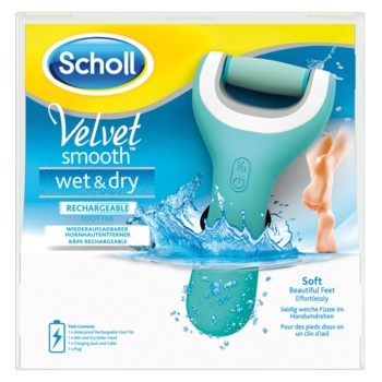 Scholl Velvet Smooth pila electronica pentru calcaie rezistent la apa