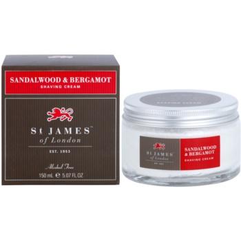 St. James Of London Sandalwood & Bergamot crema pentru barbierit pentru barbati 150 ml