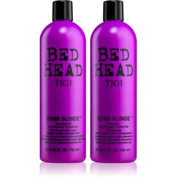 Tigi Bed Head Dumb Blonde šampon 750 ml + Blonde Reconstructor šampon a kondicionér pro poškozené blond vlasy 750 ml dárková sada