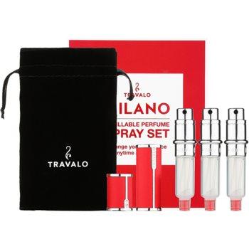 Travalo Milano dárková sada I. Red plnitelný rozprašovač parfémů 3 x 5 ml