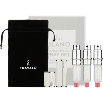 Travalo Milano dárková sada II. White plnitelný rozprašovač parfémů 3 x 5 ml