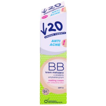 Under Twenty ANTI! ACNE creme matificante BB com efeito antibacteriano SPF 10 2