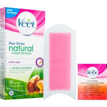 Veet Wax Strips Natural Inspirations™ benzi depilatoare cu ceara rece cu ulei de argan imagine produs