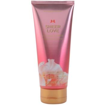 Victoria's Secret Sheer Love White Cotton & Pink Lily tělový krém pro ženy 200 ml