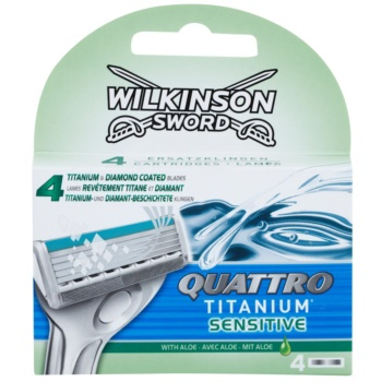 Fotografie Wilkinson Sword Quattro Titanium Sensitive náhradní hlavice 4 kusy