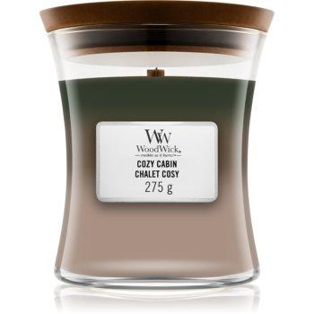 Woodwick Trilogy Cozy Cabin lumânare parfumată cu fitil din lemn