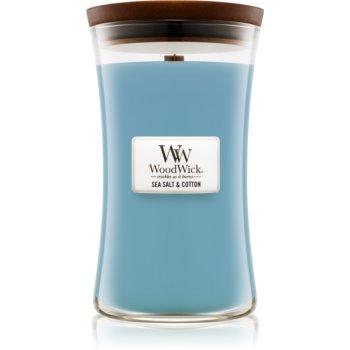 Woodwick Sea Salt & Cotton lumânare parfumată cu fitil din lemn