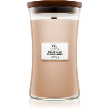 Woodwick Vanilla & Sea Salt lumânare parfumată cu fitil din lemn poza noua