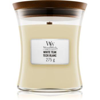 Woodwick White Teak lumânare parfumată cu fitil din lemn