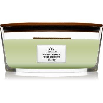 Woodwick Fig Leaf & Tuberose lumânare parfumată cu fitil din lemn (hearthwick)