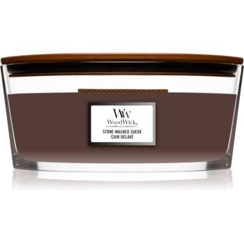 Woodwick Stone Washed Suede lumânare parfumată cu fitil din lemn (hearthwick)