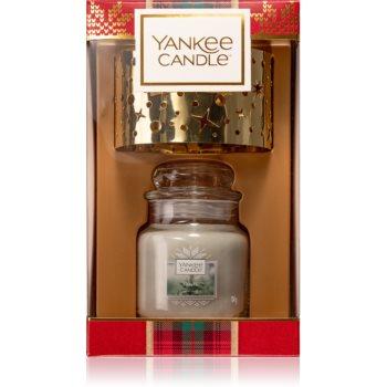 Yankee Candle Alpine Christmas White Fir vonná svíčka 104 g + Gold Candle Shade 1 ks