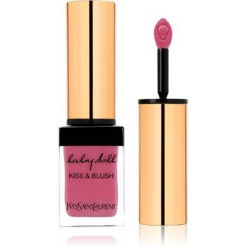 Yves Saint Laurent Baby Doll Kiss & Blush ruj de buze si obraji cu efect matifiant culoare 02 Rose Frivole  10 ml