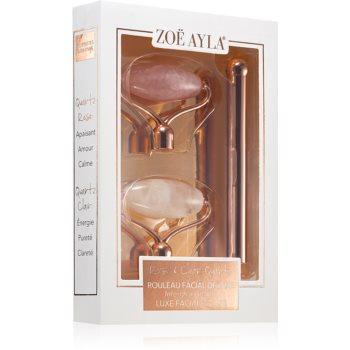 Zoë Ayla Luxurious Rose & Clear Quartz Roller rulou de masaj (facial) + capete de schimb imagine produs