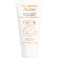 Avène Sun Mineral védőkrém az arcra kémiai szűrő és parfüm mentes SPF 50+
