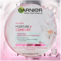 Garnier Skin Naturals Moisture+Comfort szuper hidratáló és nyugtató szövet arcmaszk száraz és érzékeny bőrre