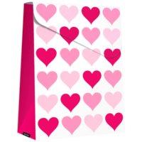 ajándék táska nagy Pink Hearts (280 x 80 x 220 mm)