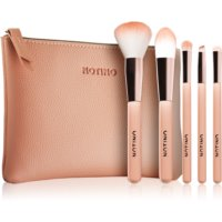 Notino Glamour Collection Travel Brush Set with Pouch potovalni set čopičev s torbico