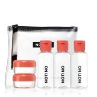 Notino Travel utazó készlet 5 üres kozmetikai tárolóedénykével CORAL
