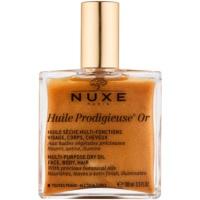 multifunkčný suchý olej s trblietkami na tvár, telo a vlasy