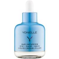 flüssige Creme mit schneller Antifalten-Wirkung für den Augenbereich, das Gesicht und den Hals