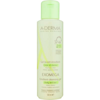 A-Derma Exomega gel detergente umidificante per corpo e capelli per bambini