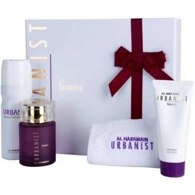Al Haramain Urbanist Femme lote de regalo I.  eau de parfum 100 ml + desodorante en spray 200 ml + leche corporal 100 ml + toalla