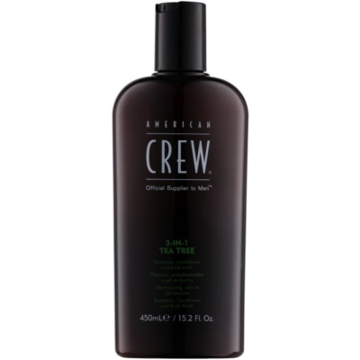 American Crew Tea Tree champú, acondicionador y gel de ducha 3 en 1 para hombre