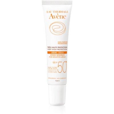 zaščitna krema za občutljive predele kože brez kemičnih filtrov in dišav SPF 50+