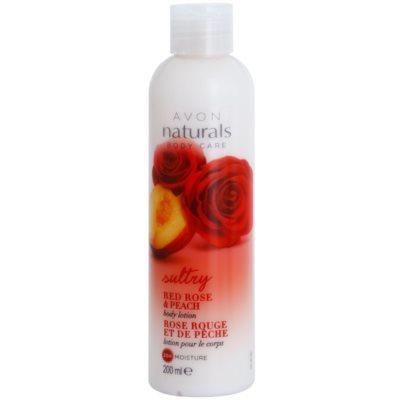 hydratačné telové mlieko s červenou ružou a broskyňou