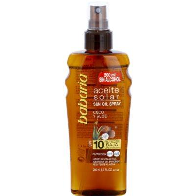 olej na opalování SPF 10