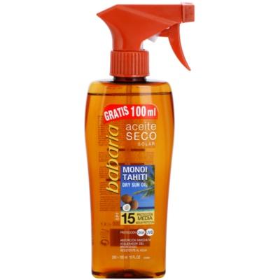 suchý olej na opalování SPF 15