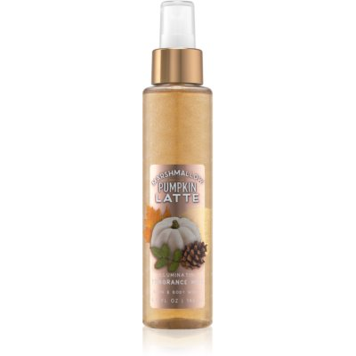 Bath & Body Works Marshmallow Pumpkin Latte spray de corpo para mulheres 146 ml brilhante
