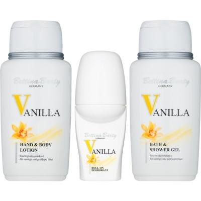 Bettina Barty Classic Vanilla σετ δώρου ΙΙΙ.   τζελ για ντούς και μπάνιο 150 ml + αποσμητικό σε roll-on 50 ml + λοσιόν σώματος 150 ml + τσάντα για καλλυντικά 1 ks