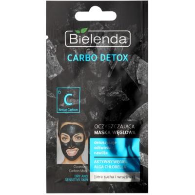čistilna maska z aktivnim ogljem za suho in občutljivo kožo