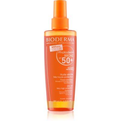 ochranný suchý olej ve spreji SPF 50+