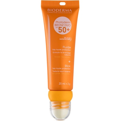 Bioderma Photoderm Bronz Sunscreen Fluid and Lip Balm SPF 50+
