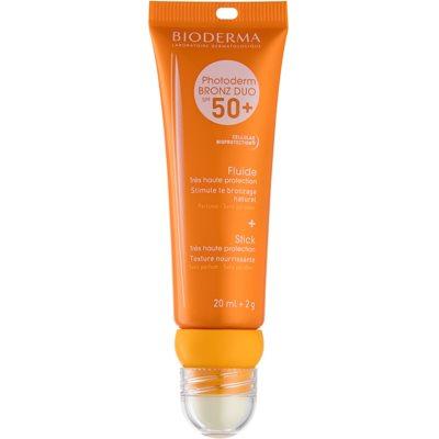 fluide protecteur visage et baume à lèvres SPF 50+