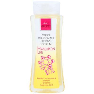 čistilni tonik za obraz za odstranjevanje ličil s hialuronsko kislino
