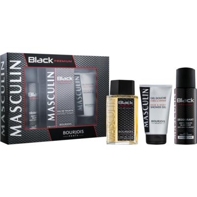 Bourjois Masculin Black Premium подаръчен комплект I.  тоалетна вода 100 ml + антиперспирант 200 ml + душ гел 150 ml