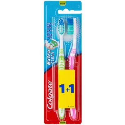 Colgate Extra Clean escovas de dentes média 2 pçs