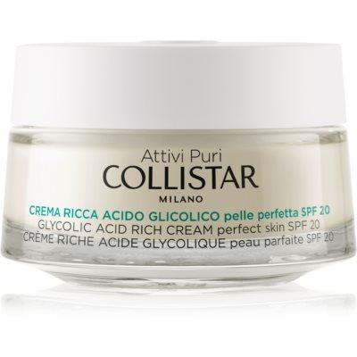Collistar Pure Actives Glycolic Acid поживний крем для відновлення щільності  шкіри з ефектом освітлення